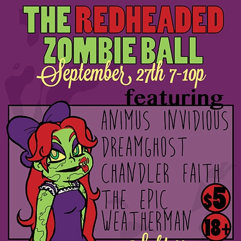 RedHeaded Zombie Ball Poster